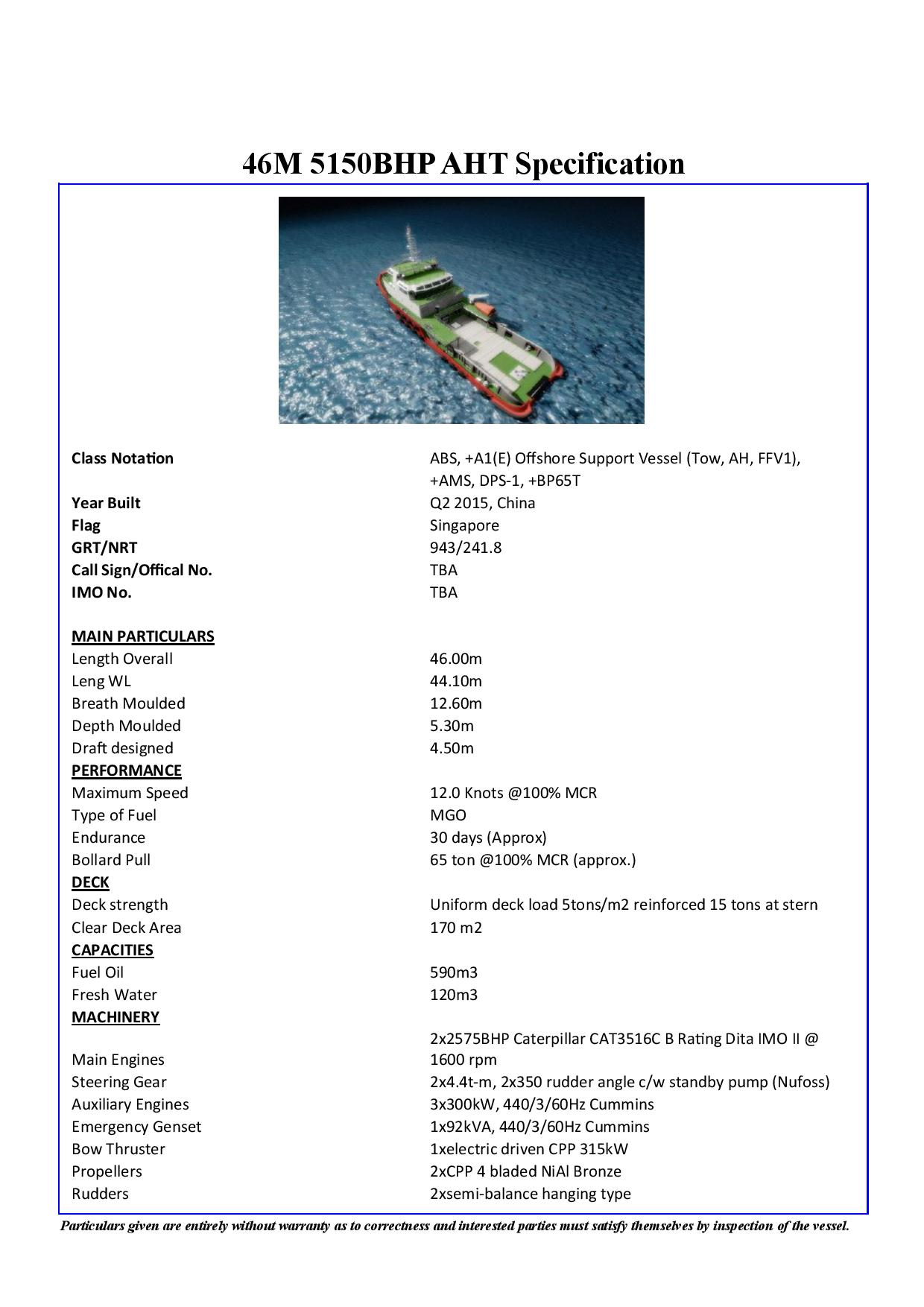 46M 5150BHP AHT For Charter